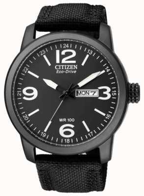 Citizen Eco-drive pour hommes | sport militaire | bracelet en nylon noir | cadran noir BM8475-34E