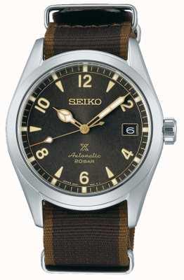 Seiko Alpinist | bracelet en nylon noir / marron | cadran noir SPB211J1
