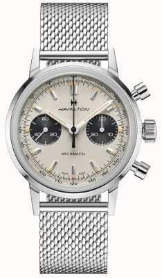 Hamilton Intramatic - chronographe mécanique | bracelet en maille argentée | cadran blanc H38429110