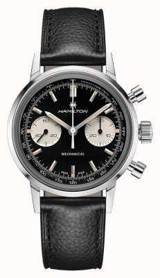 Hamilton Intramatic | mécanique | chronographe | cadran noir | bracelet en cuir noir H38429730
