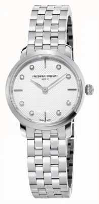 Frederique Constant Cadran diamant mince pour femme | bracelet en acier inoxydable FC-200STDS26B