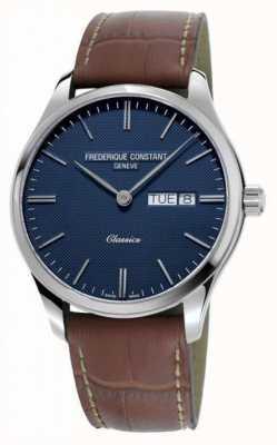 Frederique Constant Quartz classique pour hommes | bracelet en cuir marron | cadran bleu FC-225NT5B6