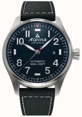 Alpina Smartimer pilote auto pour hommes | bracelet en cuir noir | cadran bleu foncé AL-525NN4S6