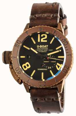 U-Boat Sommerso 46 | bronze | lunette en céramique | bracelet en cuir marron automatique 8486/C