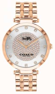 Coach Parc des femmes | bracelet en acier plaqué or rose | cadran blanc 14503735