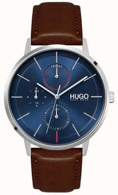 HUGO #exister | bracelet en cuir marron pour homme | cadran bleu 1530201