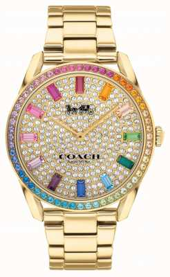 Coach Preston femmes | bracelet en acier plaqué or | cadran serti de cristal 14503657
