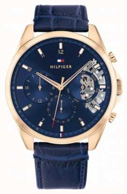 Tommy Hilfiger Baker | bracelet en cuir bleu | cadran bleu 1710451
