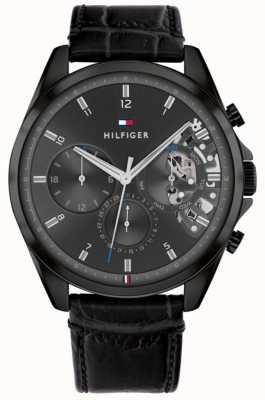Tommy Hilfiger Baker | bracelet en cuir noir pour homme | cadran noir 1710452