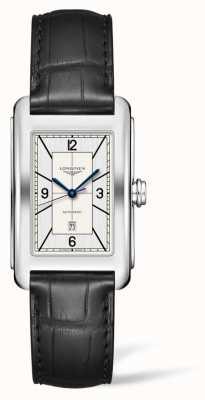 Longines Dolcevita | 28mm | automatique | cadran argenté | bracelet en cuir noir | L57574730