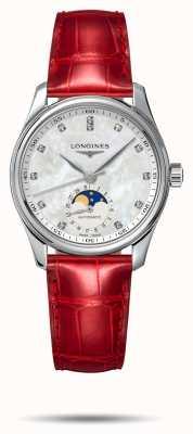 Longines Bracelet cuir rouge pour femme Master collection L24094872