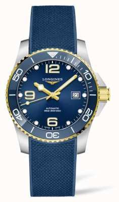 Longines Hydroconquest automatique bracelet en caoutchouc bleu lunette en céramique L37813969