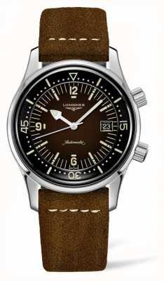 Longines Bracelet cuir marron Heritage Legend Diver L37744602