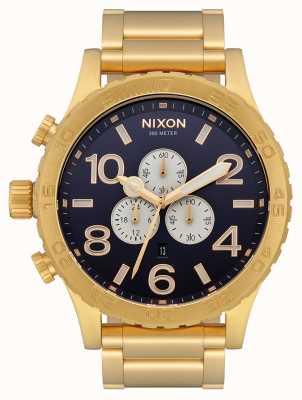 Nixon 51-30 chrono | tout or / indigo | bracelet en or | cadran indigo A083-2033