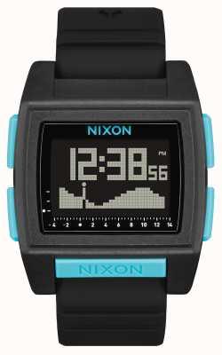 Nixon Marée de base pro | tout noir / bleu | numérique | bracelet en silicone noir A1307-602