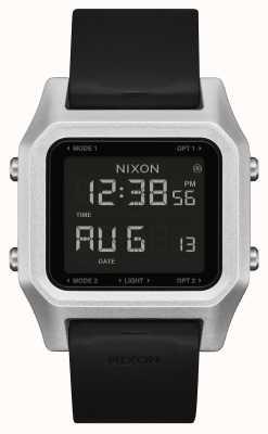Nixon Agrafe | argent / noir | numérique | bracelet en silicone noir A1309-625