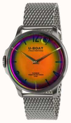 U-Boat Arc-en-ciel 44 mm orange SS sur bracelet métal 8469/MT