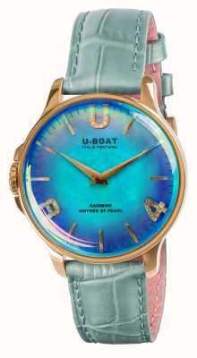 U-Boat Bracelet en cuir bleu ip or bleu arc-en-ciel 38 mm 8475