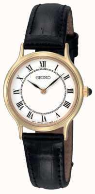 Montre dame Seiko cadran blanc bracelet cuir noir SFQ830P1
