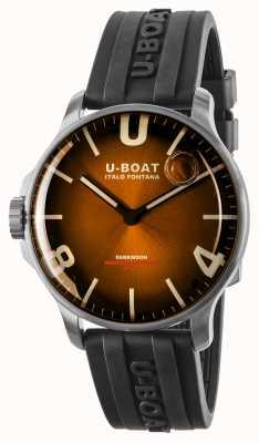 U-Boat Darkmoon 44 mm élégant bracelet en acier inoxydable marron / caoutchouc 8703