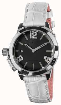 U-Boat Classico 38 cadran noir bracelet en cuir blanc 8482