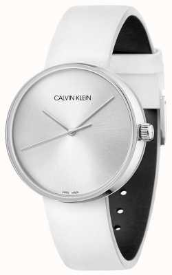 Calvin Klein Bracelet en cuir blanc pour femme | cadran argenté KBL231L6