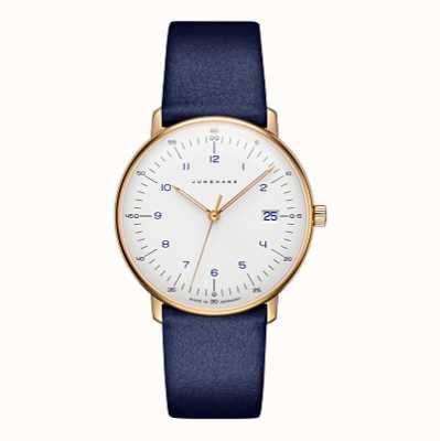 Junghans Bracelet cuir Max bill damen bleu 47/7851.04