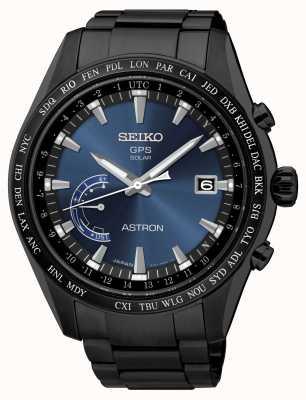 Seiko Astron GPS noir cadran bleu en acier inoxydable plaqué IP SSE111J1