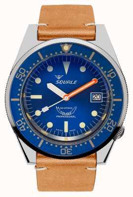 Squale Ocean | automatique | cadran bleu | bracelet en cuir vintage marron 1521OCN.PC-CINVINTAGE