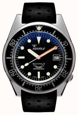 Squale 1521 noir sablé | automatique | cadran noir | bracelet en silicone noir 1521BKBL.NT-CINTRB20