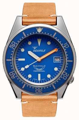 Squale Bleu sablé | automatique | cadran bleu | bracelet en cuir marron 1521BLUEBL.PC-CINVINTAGE