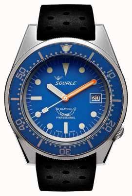 Squale Bleu sablé | automatique | cadran bleu | bracelet en silicone noir 1521BLUEBL.NT-CINTRB20