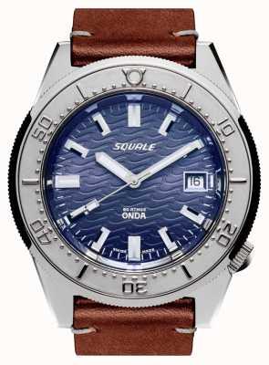 Squale 1521 cuir onda | automatique | cadran bleu | bracelet en cuir marron 1521ODG.PS-CINCUOBW