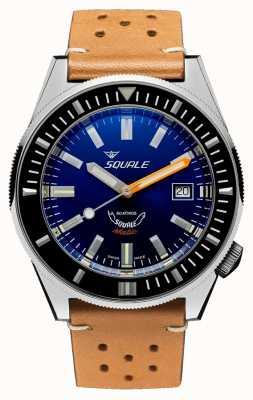 Squale Bleu foncé | automatique | cadran bleu | bracelet en cuir marron MATICXSB.PTC-CINU1565CM