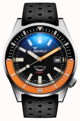 Squale Orange satiné | automatique | cadran noir sunburst | bracelet en silicone noir MATICXSC.NT-CINTRB22