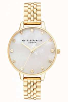 Olivia Burton Bracelet en or blanc gros cadran boitier mince OB16SE13