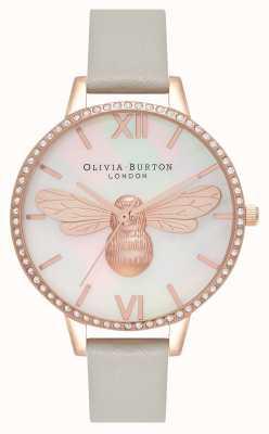 Olivia Burton Lucky bee demi cadran boîtier scintillant gris et or rose OB16BB17