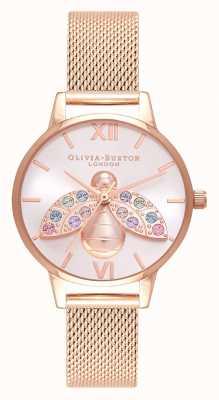 Olivia Burton Arc-en-ciel abeille argent soleil maille or rose OB16RB28