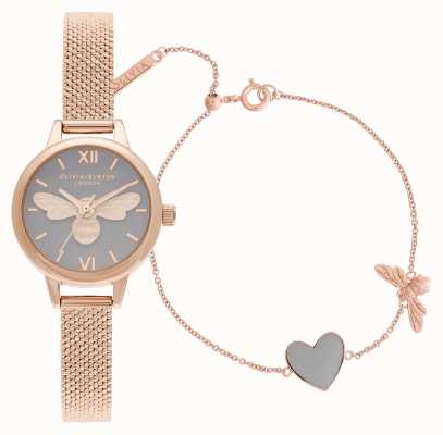 Olivia Burton | tu as mon coeur | ensemble montre et bracelet | or rose | OBGSET148
