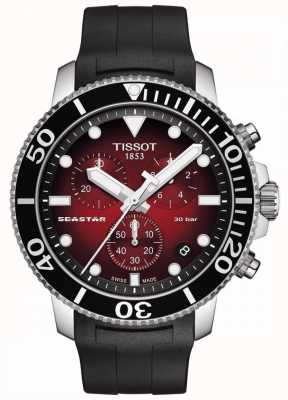 Tissot Seastar 1000 | chronographe | cadran rouge | bracelet en silicone noir T1204171742100