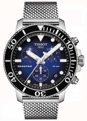 Tissot Seastar 1000 | chronographe | cadran bleu | maille inoxydable T1204171104102