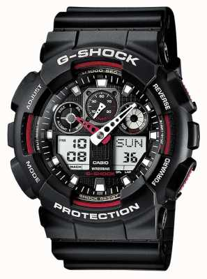 Montre Casio G-Shock chrono alarme noire rouge GA-100-1A4ER