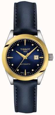 Tissot T-ma dame | Or 18 carats | auto | cadran bleu | bracelet en cuir bleu T9300074604600