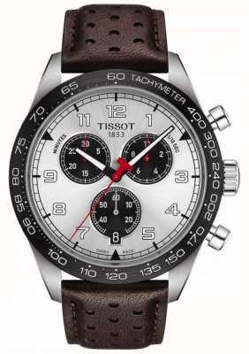 Tissot Prs 516 | chronographe | cadran argenté | bracelet en cuir marron T1316171603200