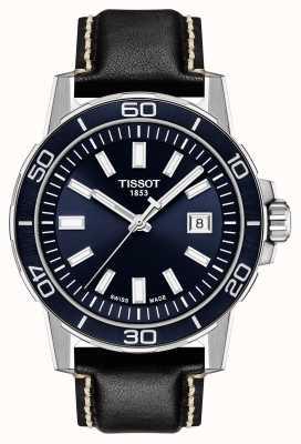 Tissot Supersport | cadran bleu | bracelet en cuir noir T1256101604100
