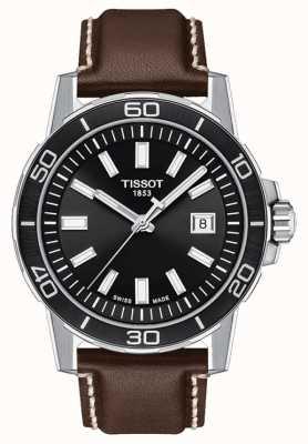 Tissot Supersport | cadran noir | bracelet en cuir marron T1256101605100