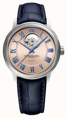 Raymond Weil Maestro | automatique | cadran en cuivre rose | bracelet en cuir bleu 2227-STC-00808