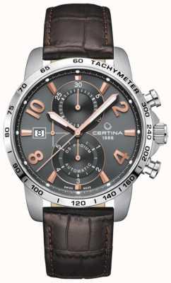 Certina Podium Ds | automatique | bracelet en cuir marron | cadran gris C0344271608701