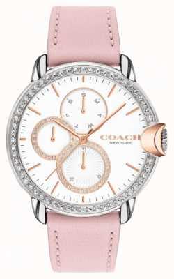 Coach Arden pour femmes | bracelet en cuir rose | cadran blanc 14503747