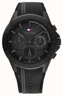 Tommy Hilfiger Hommes alden | bracelet en silicone noir | cadran noir 1791861